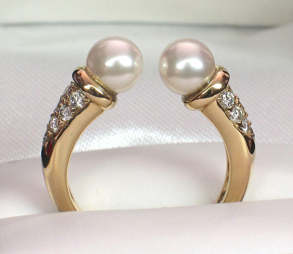 18k TIFFANY Akoya Pearl & Diamond Tension Ring