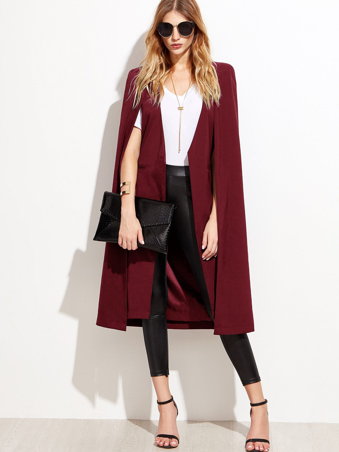 d1a2ac5b50c Shop Open Front Longline Cape Blazer online. SheIn offers Open Front  Longline Cape Blazer   more to fit your fashionable needs.