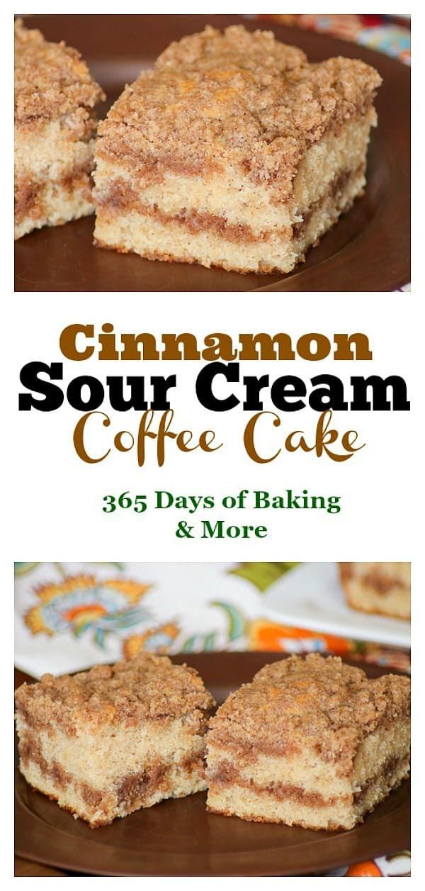 Cinnamon Sour Cream Coffee Cake #sourcream