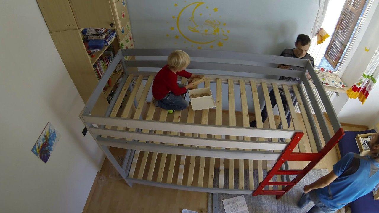 assembly of ikea mydal bunkbed hack with custom climbing on wall hacks id=91281