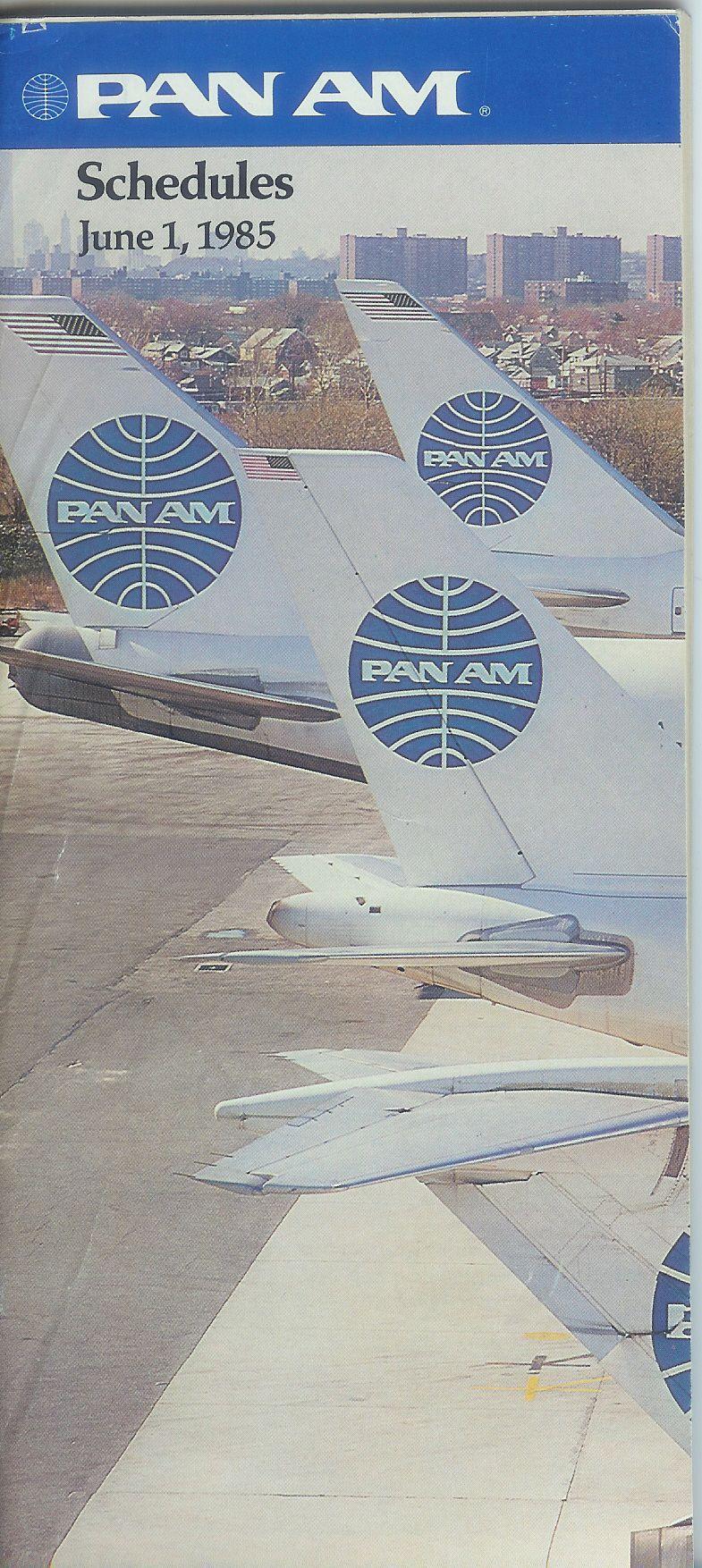 Pan Am Timetable June 1985 Pan American World Airways