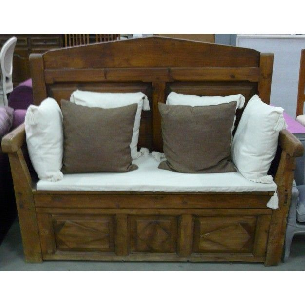 Banco ba l antiguo en madera de casta o banco de madera - Baul madera barato ...