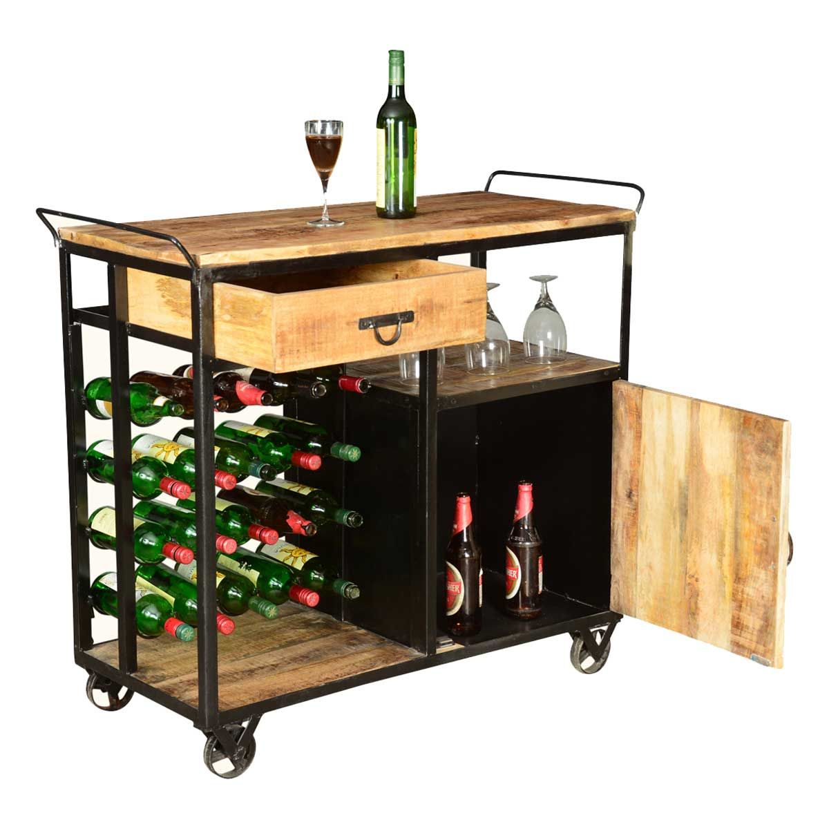 Wine Bar Cart Celebration Wood Industrial Iron Deluxe Rolling