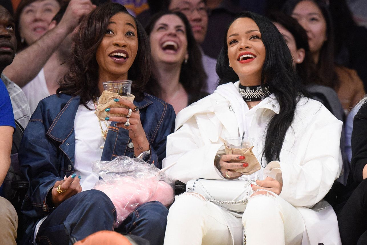 9882979cb Rihanna and BFF Melissa Forde laugh it up at a Lakers game on Sunday ...