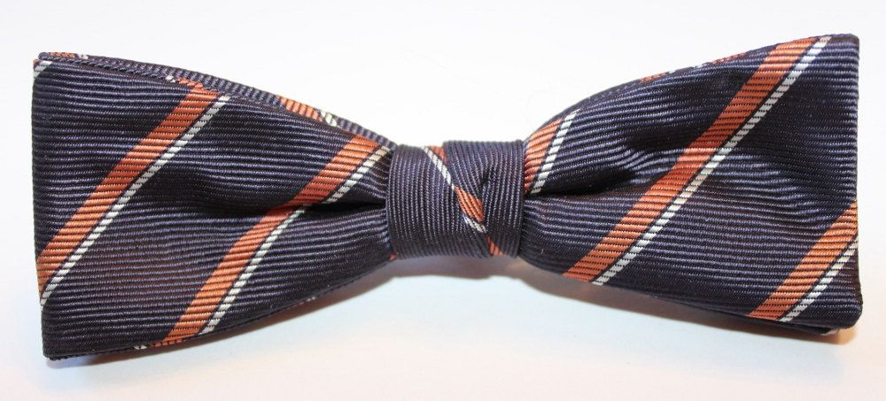 Vintage Men's Clip on Bowtie, Navy Blue and Red, 1950's by ilovevintagestuff on Etsy
