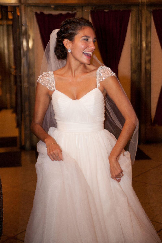 Christos Julianna Real Weddings 39 Wedding Dress Cap Sleeves