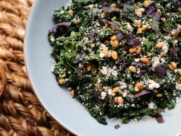 Purple and Green Kale Salad with Lemon Anchovy Vinaigrette