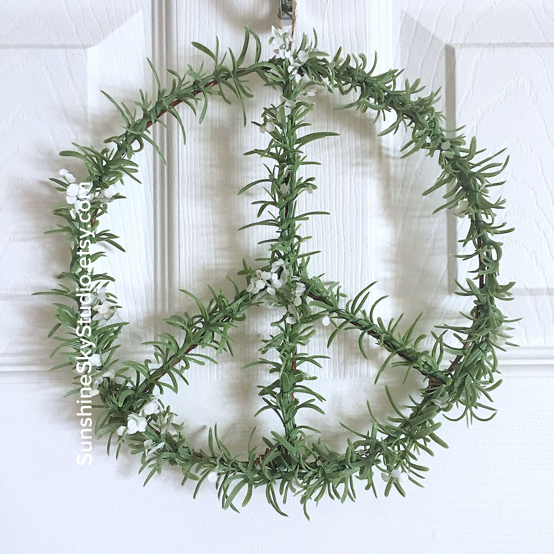 Peace Sign Wreath/Modern Wreath/Boho Bedroom Decor/Dorm Room Decor ...