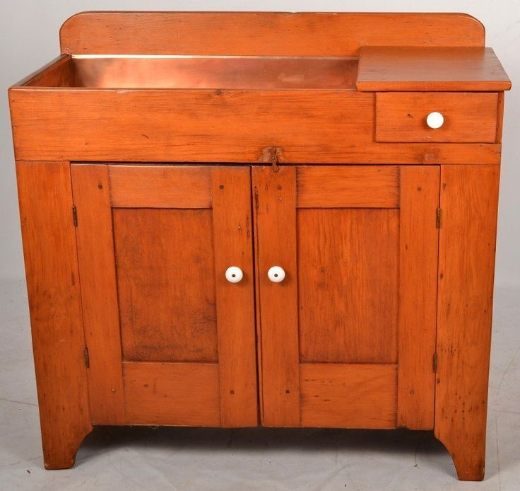 Antique Dry Sink With Copper Liner