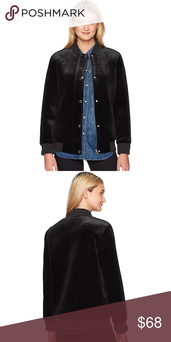 3ae987f17 Members Only Black Velvet Velour Bomber Jacket 92% Polyester, 8 ...