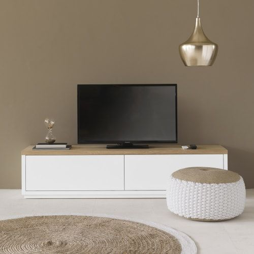 Meuble Tv 2 Portes Blanc L180 En 2020 Deco Meuble Tv Idee