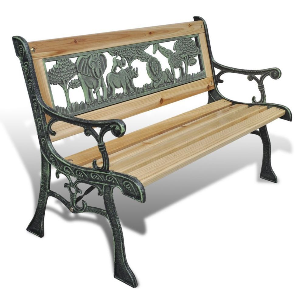 Superior Kids Wooden Bench Outdoor Garden Patio Seat Iron Frame Childrenu0027s Furniture  New