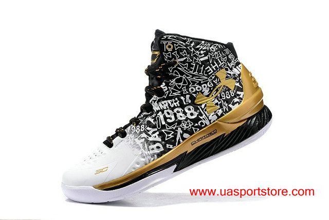 9c7d65765ab4 Stephen Curry MVP Basketball Shoes White Gold Black UA Curry 1 ...