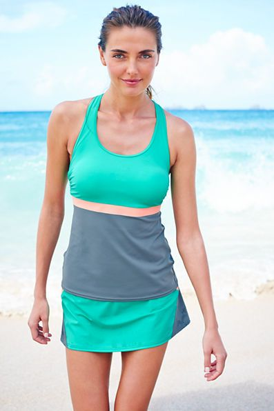 7746c6741b028 Women's AquaSport Tunic Swimsuit Top - Colorblock from Lands' End ...