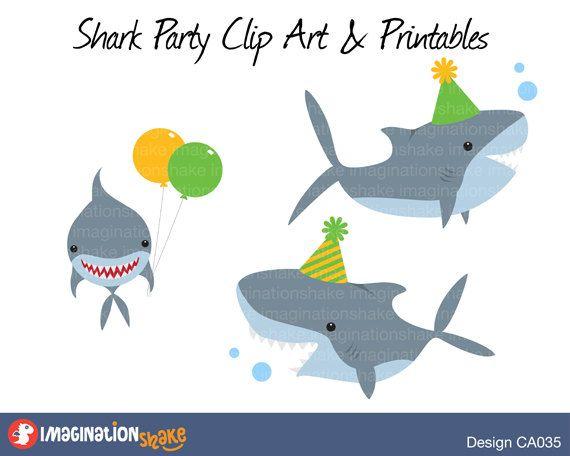 Shark Birthday Party Clip Art Printables Set By ImaginationShake