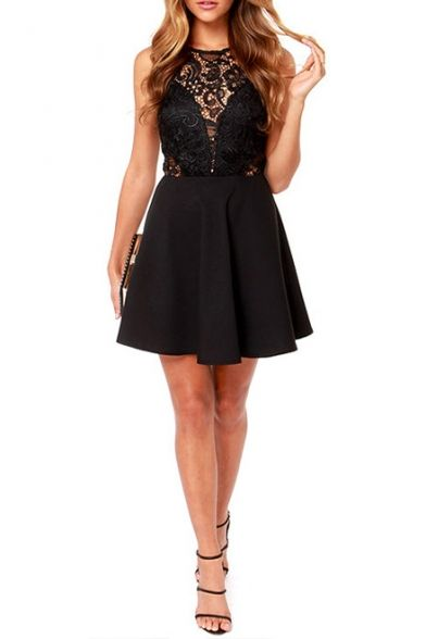 d931108c5 Black Lace Hollow Sleeveless Top Fit Flare Dress