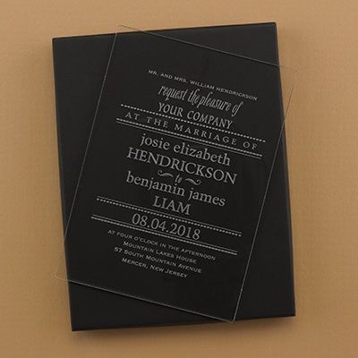 Clearly Marvelous Acrylic Invitation and Box Etched acrylic