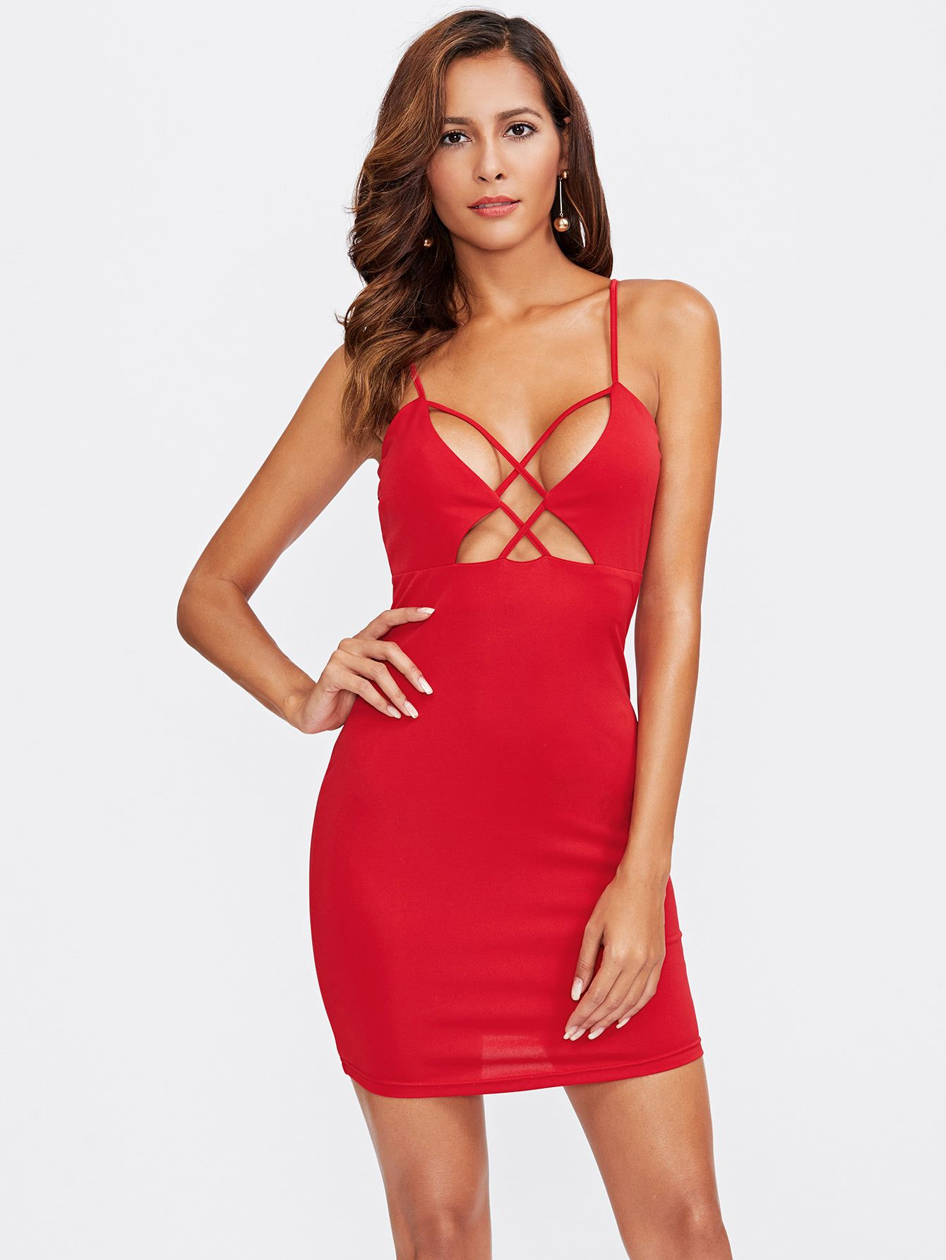 Shop Caged Front Plunging Cami Dress Online Shein Offers Caged Front Plunging Cami Dress Amp More To Fit Your Fashio Bodycon Dress Bright Fashion Cami Dress