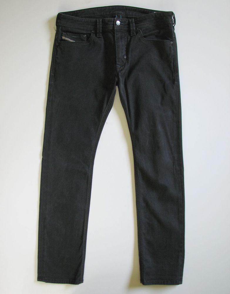 94168d54 DIESEL THANAZ MENS 31 30 BLACK SKINNY STRETCH JEANS 008A0 #Diesel # SlimSkinny