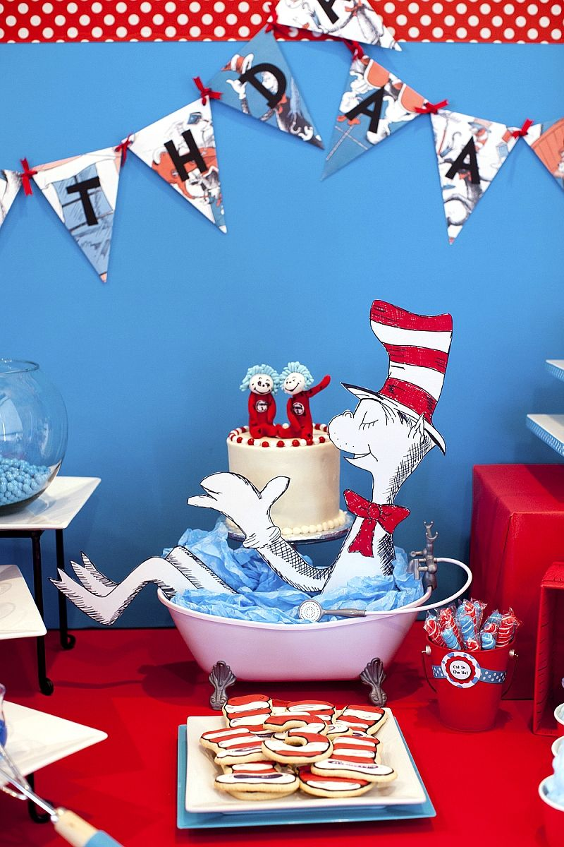 Cat In The Hat Inspired Birthday Party Ideas With DIY Decorations Printables Food