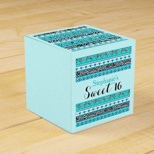 Turquoise zebra heart Sweet 16 Favorbox Favor Box