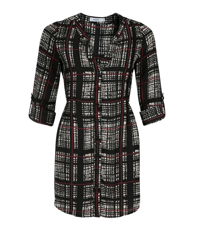 Plaid Chiffon Shirt Tunic, Black/Ivory/Scarlet Plaid