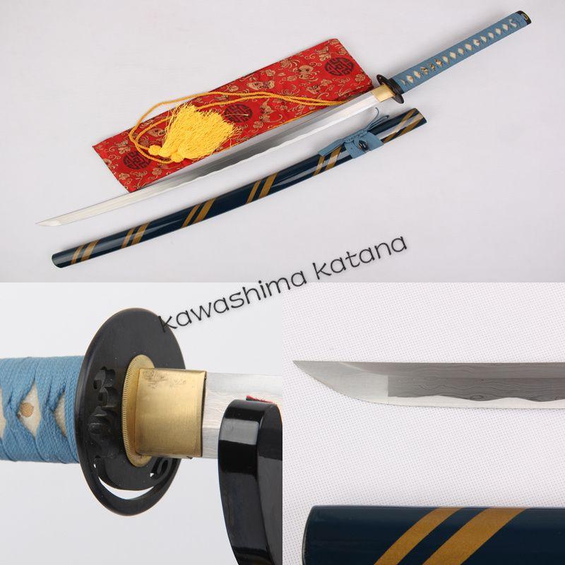 Handmade Folded Steel Blue Samurai Sword Katana Sharp Edge