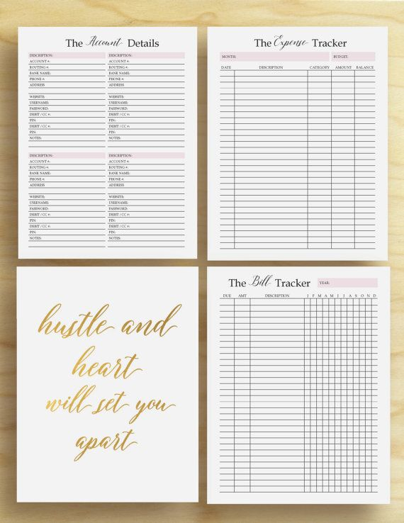 Printable Finance Planner PDF in sizes A4, A5, and LETTER FINANCE