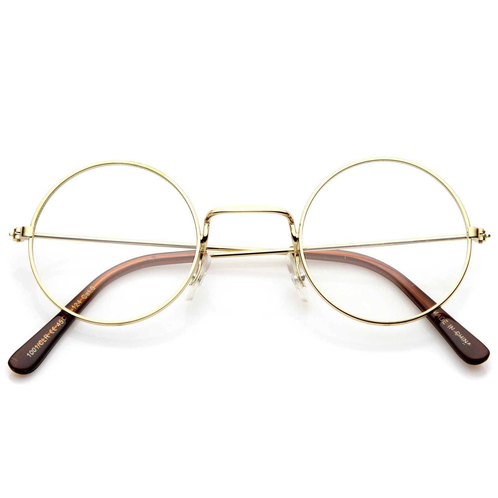 df0589d17fd4 Classic Small Metal Frame Slim Temples Clear Lens Round Eyeglasses 44mm