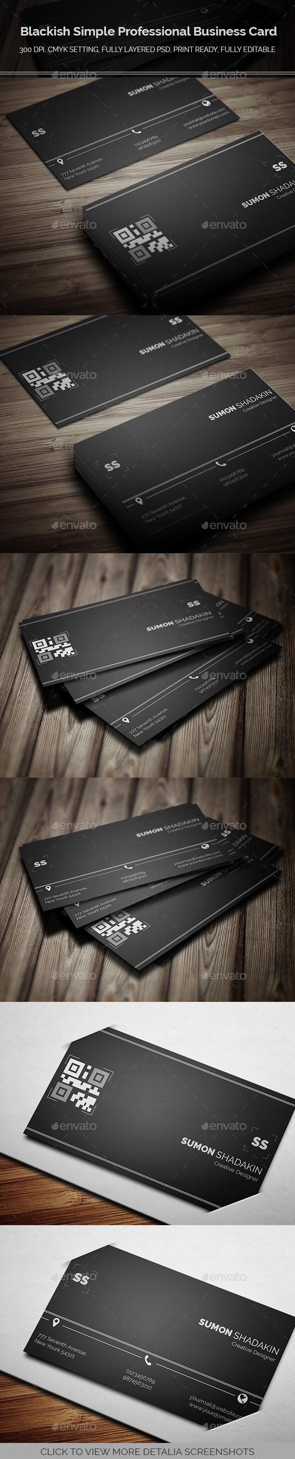 Blackish Simple Professional Business Card - Business Cards Template ...