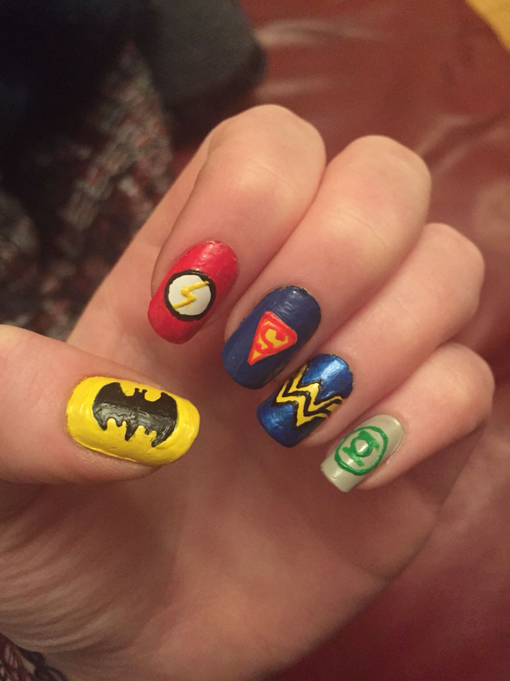 DC Comics nail art. Batman, Flash, Superman, Wonder Woman, Green ...