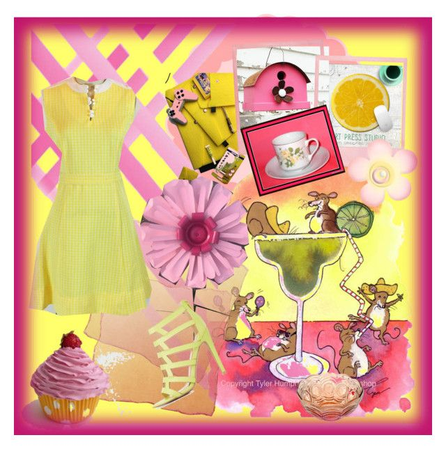 """""""Yellow and pink!"""" by woeste ❤ liked on Polyvore featuring Cricut, Cadeau and Qupid"""