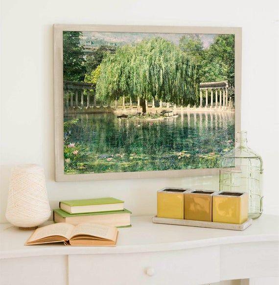 Willow Tree Wall Art, Green Nature Artwork, Paris