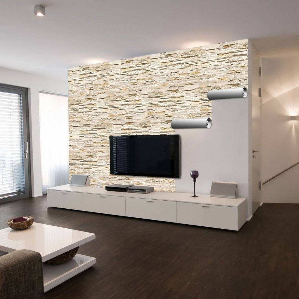 Steinoptik Fliesen Wohnzimmer  Tv wall decor, Small living rooms