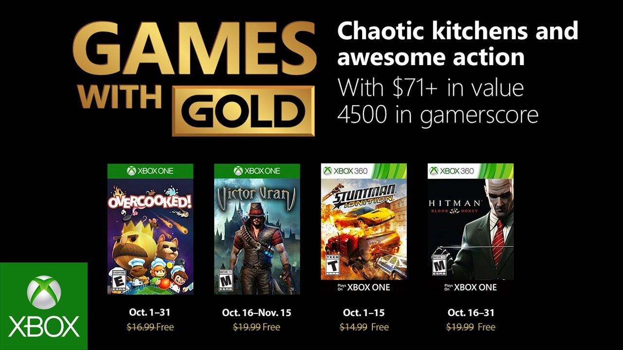 The October 2018 Games With Gold Have Been Revealed With A Game In The Hitman Series And Overcooked Headlining A Pre Free Xbox One Games Free Xbox One Xbox One