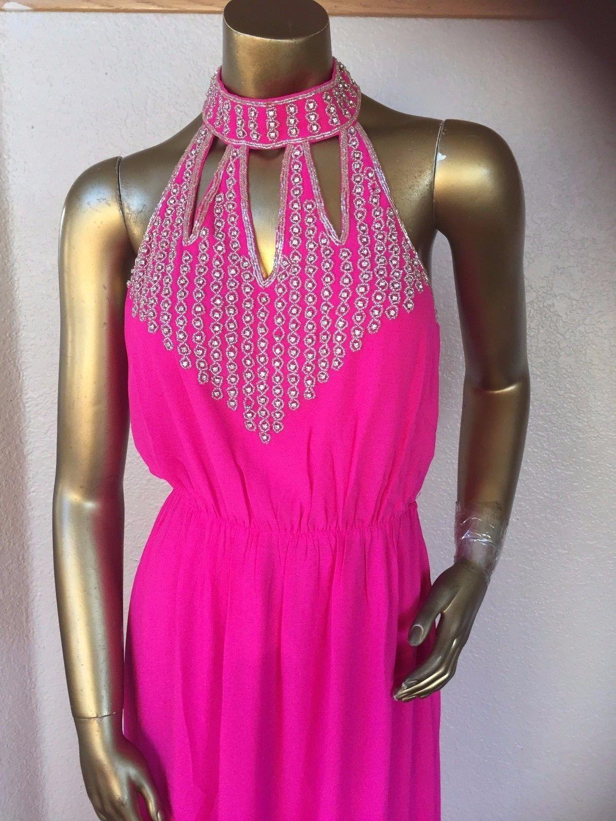 New fashion womenus hot pink long dress lcute t
