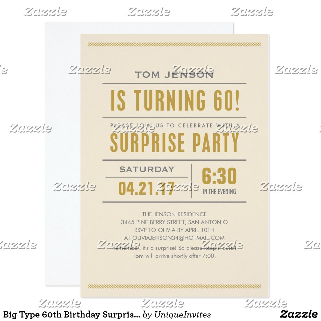 Big Type 60th Birthday Surprise Party Invitations | Surprise party ...