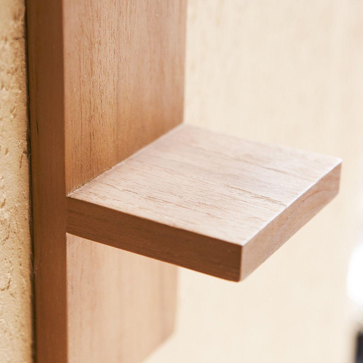 Teak Wood Vertical Bathroom Shelf Tikamoon In 2020 Teak Bathroom