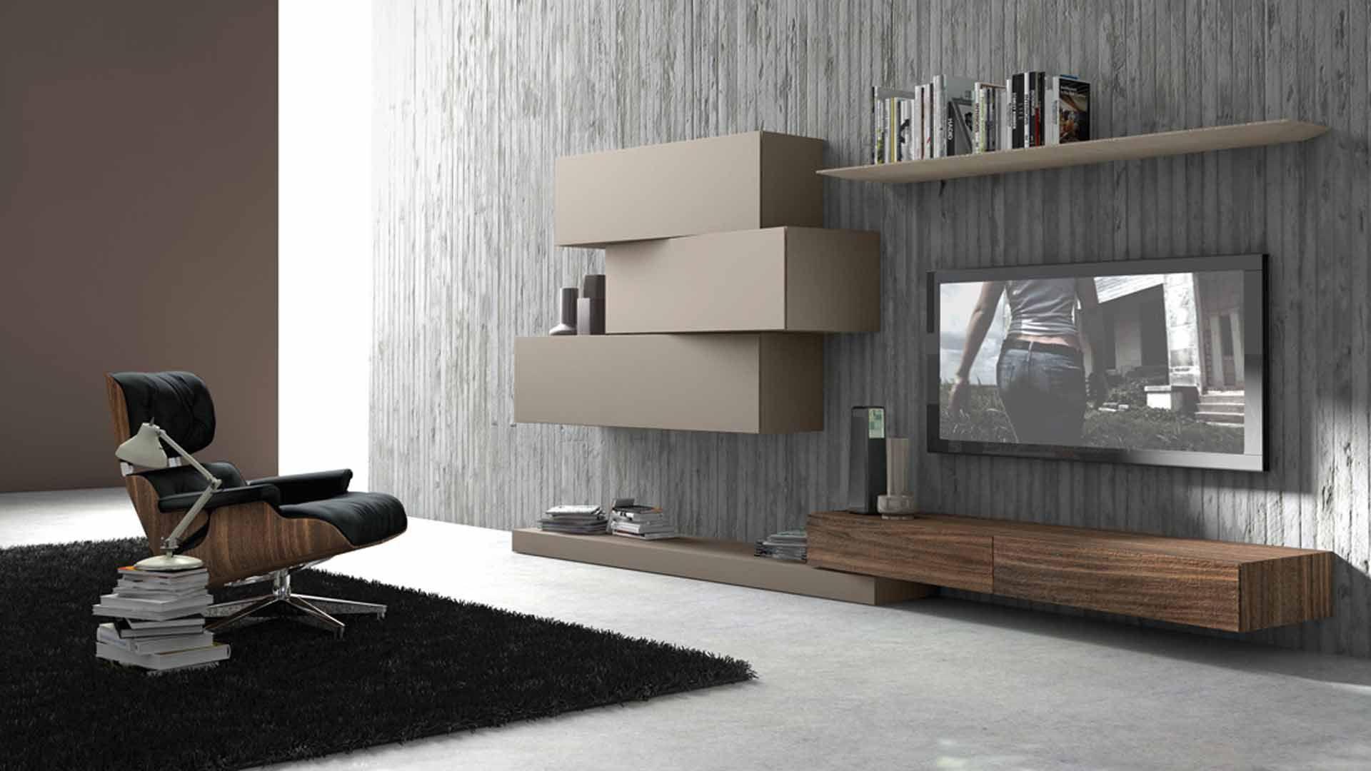 Modules Inclinart By Presotto Design Beige Bois Chez Raphaele Meubles Lyon Meubletele Meubletv Mobilier De Salon Tv Monte Sur Le Mur Mobilier Design