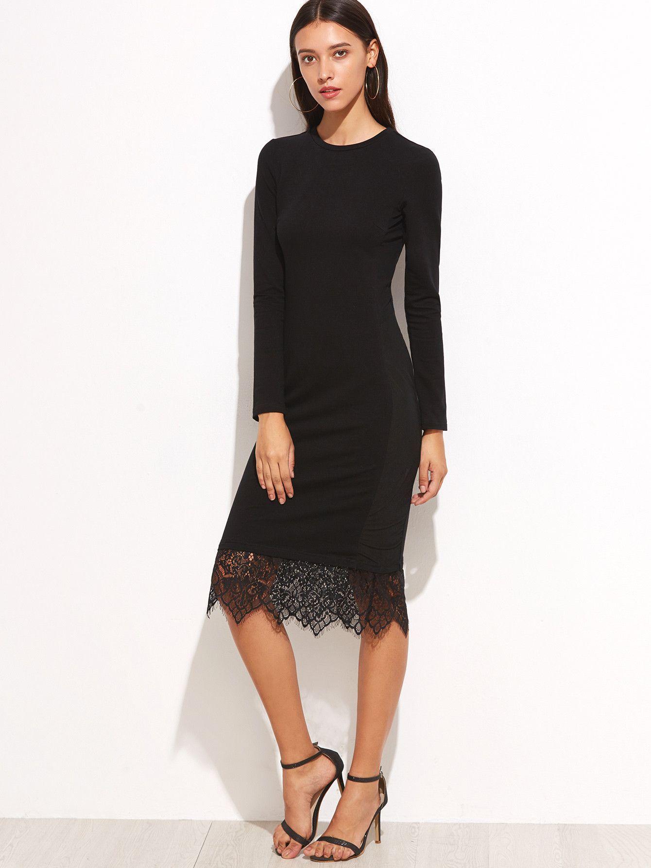 Black Lace Trim Long Sleeve Pencil Dress Long Sleeve Pencil Dress Pencil Dress Midi Pencil Dress [ 1785 x 1340 Pixel ]