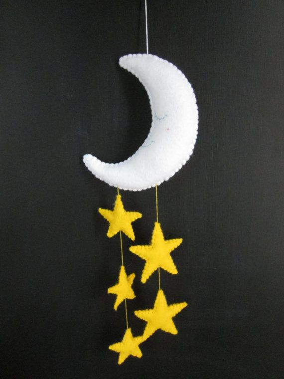 Blue Felt Moon and Stars Baby Mobile by theladybirdtree on Etsy
