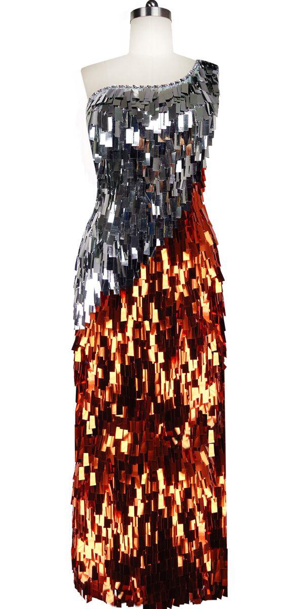 5cc66525ba6a Long Handmade Copper and Silver Rectangular Paillette Sequin Dress ...