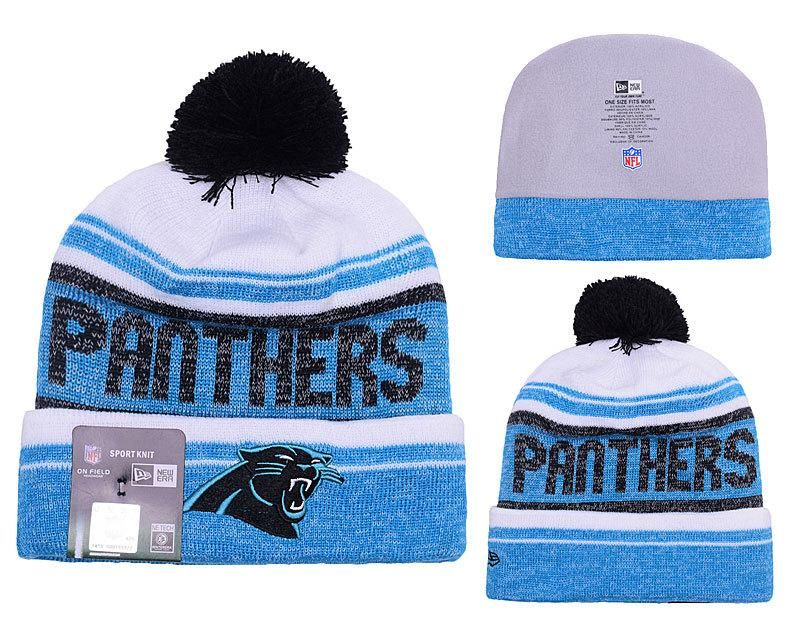 Men s   Women s Carolina Panthers New Era 2016 NFL Snow Dayz Knit Pom Pom  Beanie Hat 691239f46