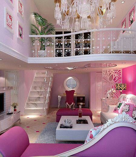 OH MY GOSH, THIS IS ABSOLUTELY AMAZING. IF IT HAD MORE BLUE AND LESS PINK  IT WOULD BE MY ABSOLUTE DREAM ROOM.