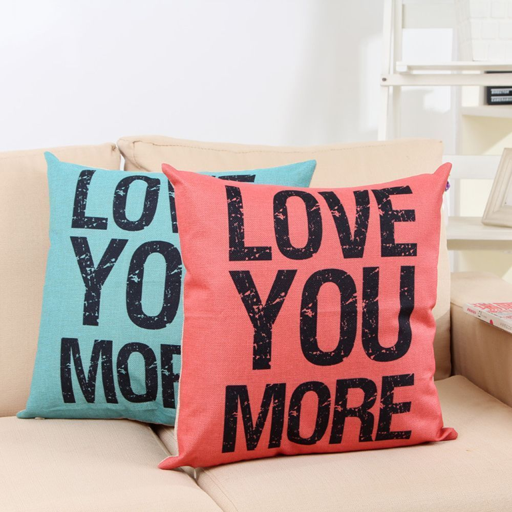 You more word cotton linen leaning cushion throw pillow covers