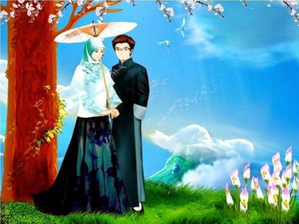 Koleksi Gambar Kartun Muslimah Romantis Berpasangan Background