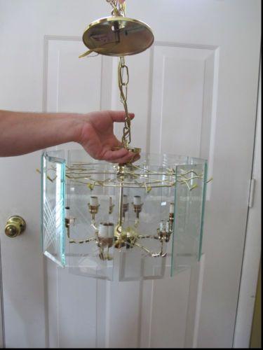 Beveled Glass Panel Ceiling Light Fixture Chandelier Brass Gold