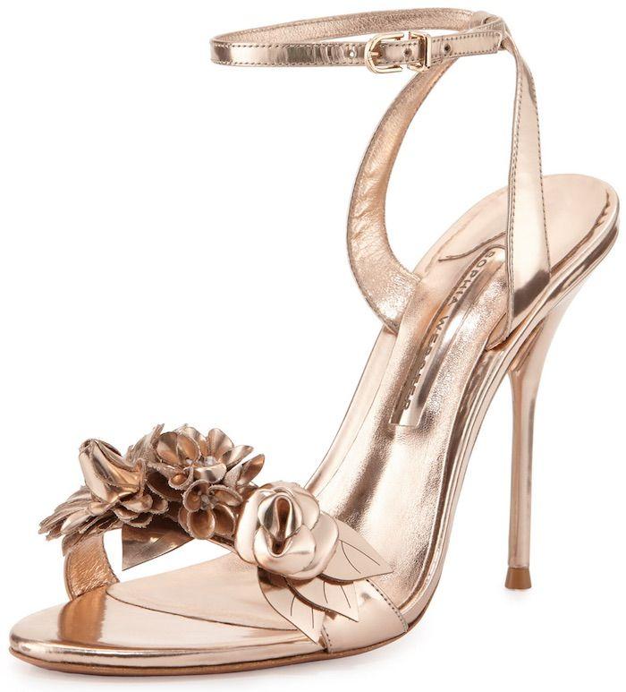 """Sophia Webster """"Lilico"""" Floral Leather 105mm Sandal in Rose Gold"""