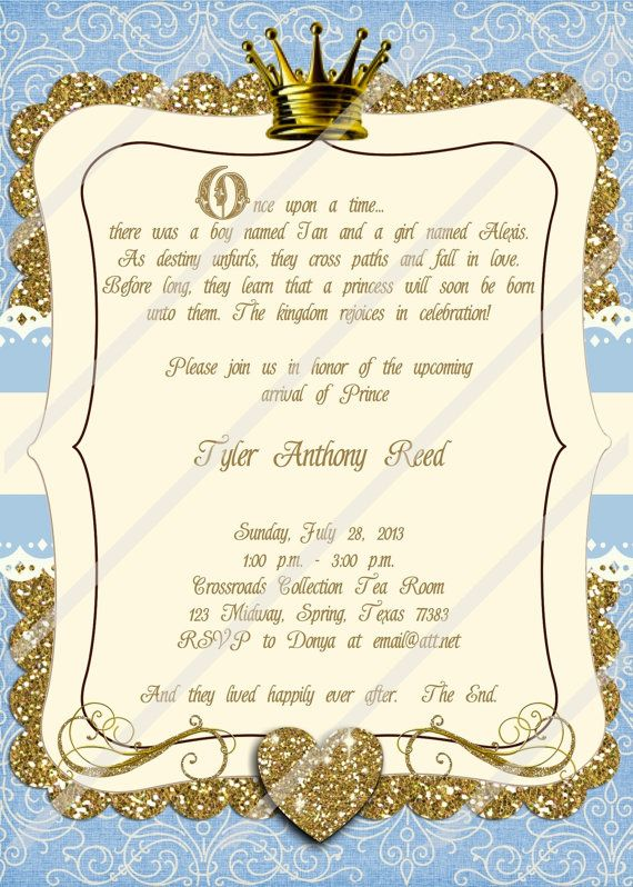 once upon a time invitation little prince baby shower boy baby shower blue and gold invitation fairy tale