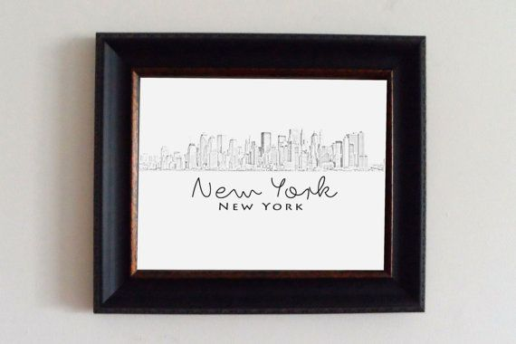 New York Skyline Print  Home Decor and Wall by KrilynCraftology